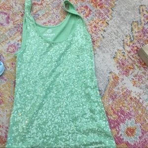 S mint green OLD NAVY sequin shirt